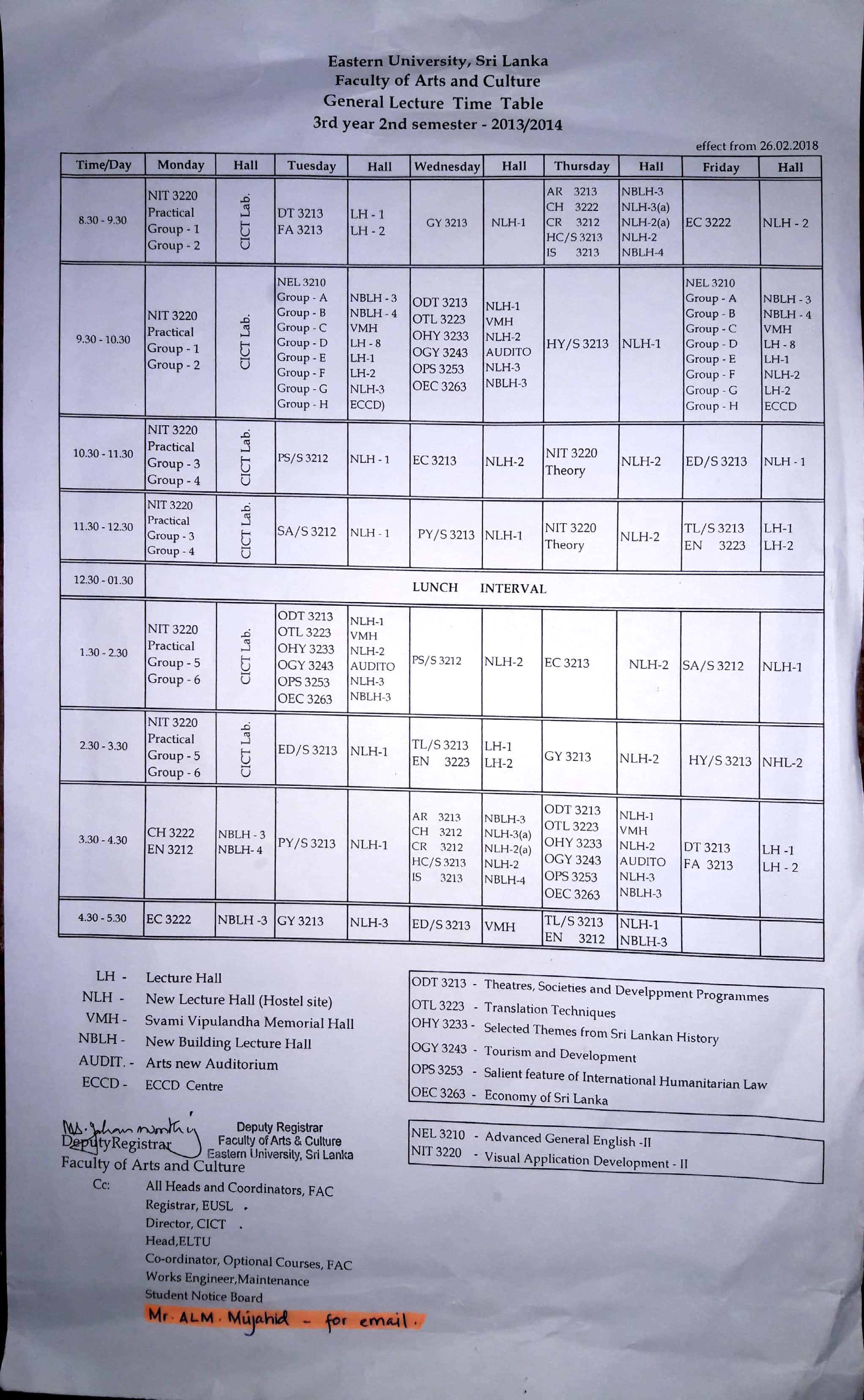 21022018 Time Table 3rd Year 2nd Semester