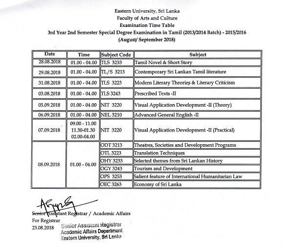 3rd Year 2nd Semester Examination Time Table pagenumber.003