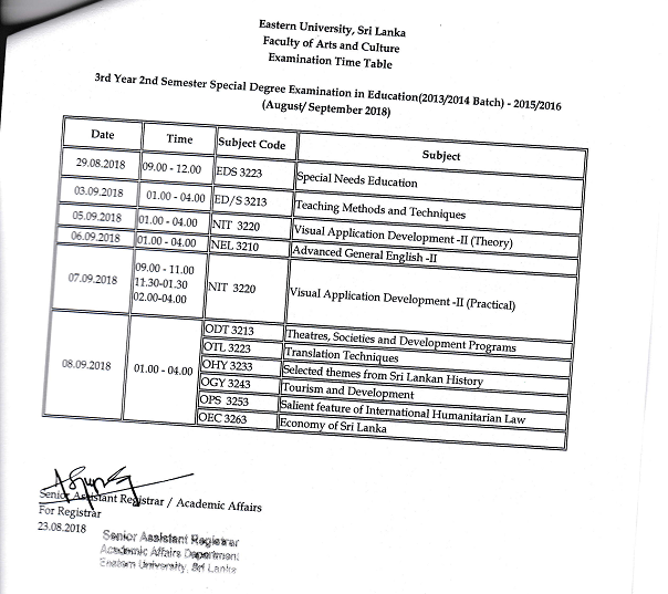 3rd Year 2nd Semester Examination Time Table pagenumber.001