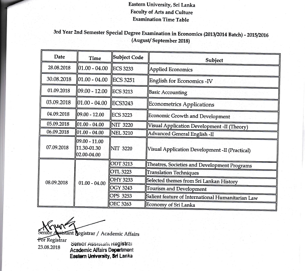 3rd Year 2nd Semester Examination Time Table pagenumber.010